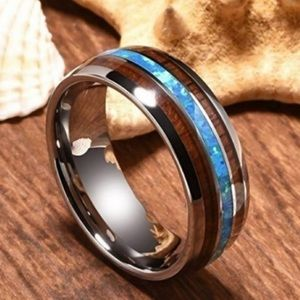 New Unisex Tungsten Hawaiian Koa Wood Abalone Ring